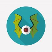 pic of bat wings  - Eye With Bat Wings Flat Icon With Long Shadow Design elements for mobile and web applications - JPG