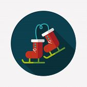 stock photo of ski boots  - Ski Boot Flat Icon With Long Shadow - JPG