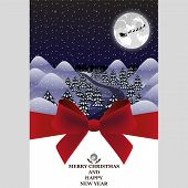 picture of santa sleigh  - Greeting card for Christmas Santa Claus in sleigh - JPG