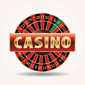 pic of roulette table  - vector golden sign for casino with roulette wheel - JPG