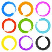 picture of dab  - Set of Watercolor Colorful Grunge Circle Stains - JPG