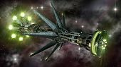 stock photo of alien  - Futuristic military spacecraft in the initiating state of a warp drive - JPG