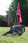 picture of civil war flags  - Two rebel cannons on a field at a Civil War re-enactment