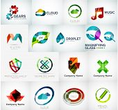 Abstract company logo vector collection - large set of business corporate logotypes poster