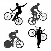 image of bicycle gear  - Cyclists Man and fixed gear bicycle Vector and Illustration - JPG