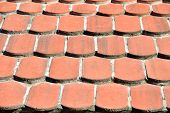 picture of red roof tile  - Close - JPG
