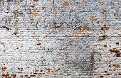 picture of mortar-joint  - The old whitewashed brick wall with rich texture - JPG