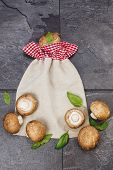 picture of portobello mushroom  - Portobello mushrooms on vintage bag background - JPG