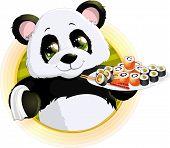 foto of pandas  - Panda sushibeautiful Panda holding in his paws a tray of sushi - JPG