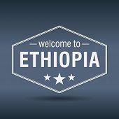 picture of ethiopia  - welcome to Ethiopia hexagonal white vintage label - JPG