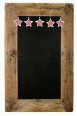 stock photo of wooden pallet  - Chalkboard christmas restaurant menu board reclaimed pallet wooden frame and shabby chic gingham stars isolated on white with copy space - JPG
