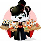 picture of panda  - Panda sushibeautiful Panda holding in his paws a tray of sushi - JPG