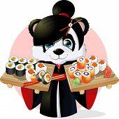 picture of pandas  - Panda sushibeautiful Panda holding in his paws a tray of sushi - JPG