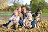 picture of petting  - A happy family of four people including mother father young child and toddler brother are sitting outside in the fallen maple leaves with their pet German Shepherd dog on an Autumn day - JPG