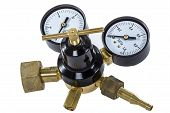 stock photo of manometer  - Gas pressure regulator with manometer isolated with clipping path - JPG