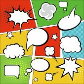 image of strip  - Comic strip  and comic speech  bubbles on colorful halftone background vector illustration - JPG