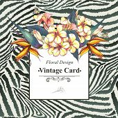 stock photo of bird paradise  - Tropical Floral Vintage Card with Exotic Flowers and Butterflies on Zebra Background - JPG