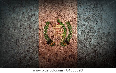 Flag Of Guatemala With Old Texture. Vector