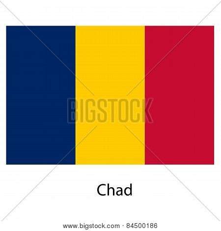 Flag  Of The Country  Chad. Vector Illustration.