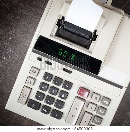Old Calculator Showing A Percentage - 60 Percent