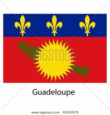 Flag  Of The Country Guadeloupe. Vector Illustration.