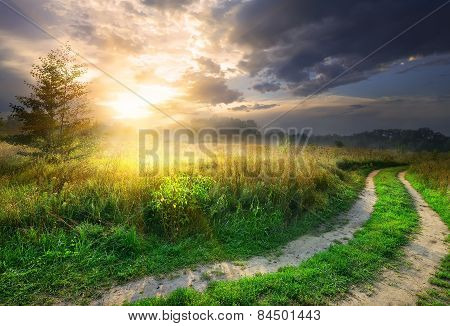 Sun and road