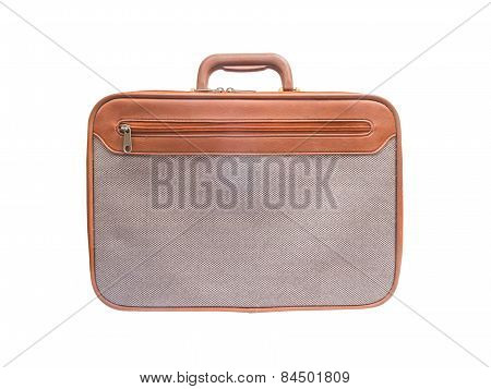 Brown Leather With Grey Tweed Fabric Breifcase Isolated