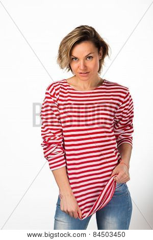 Athletic blonde in a red striped sweater,