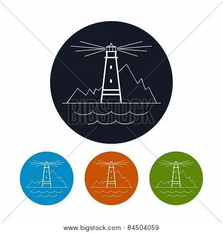 Icon  lighthouse, vector illustration