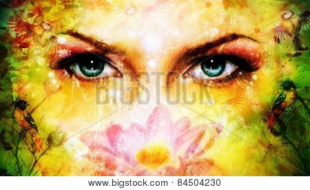 Blue Women Eyes Beaming Up Enchanting From Behind A Blooming Rose Lotus Flower, With Bird On Yellow