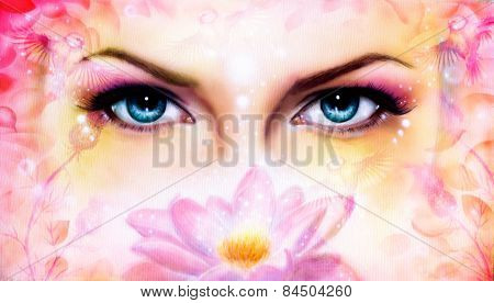 Blue Women Eyes Beaming Up Enchanting From Behind A Blooming Rose Lotus Flower, With Bird On Pink Ab