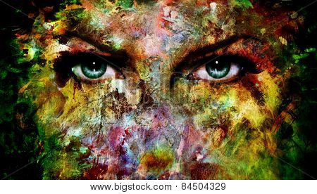 Mystic Blue Eye Made Of Painting Colorful Splashes