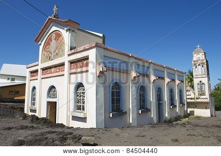 Exterior of the Notre dame des laves church in Sainte-Rose De La Reunion, France.