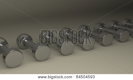 Many Steel Glossy Dumbbells