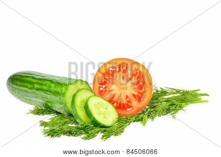 Sliced Cucumber Into Slices Next Half Tomato And Dill