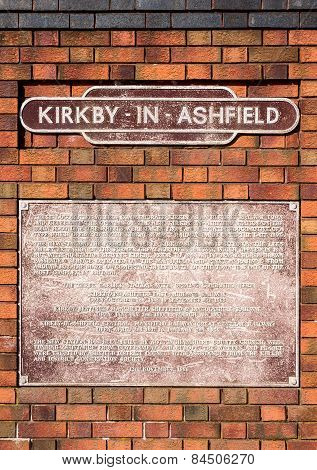 Kirkby In Ashfield Railway Plaque