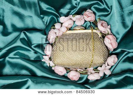 Gold Clutch In Flowers On Silk
