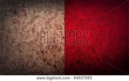 Flag Of Malta With Old Texture. Vector
