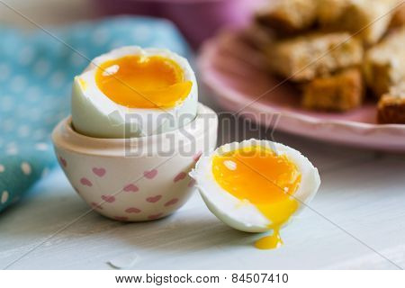 Opened Boiled Blue Duck Egg With Soft Yolk