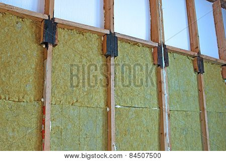Walls Of A Frame House With Different Types Of Heat Insulation
