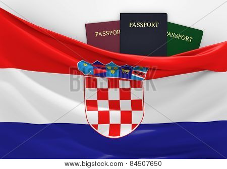 Travel and tourism in Croatia, with assorted passports
