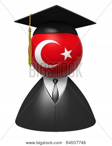 Turkey college graduate concept for schools and academic education