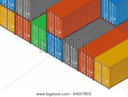Group Of Colorful Metal Freight Shipping Containers On White