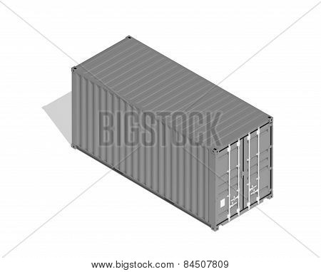 Gray Metal Freight Shipping Container Isolated On White