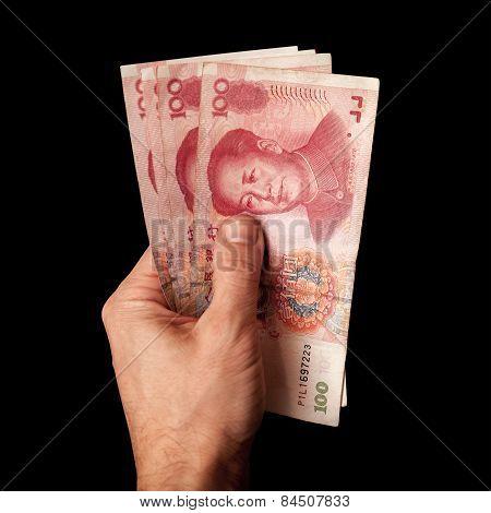 Modern Chinese 100 Yuan Renminbi Banknotes In Male Hand
