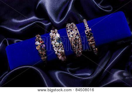 Bracelet Set On A Silk Cloth