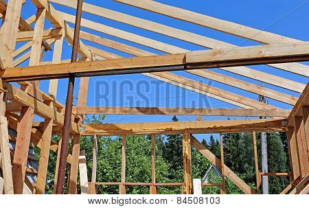 Installation Of Wooden Beams At Construction