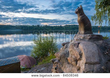 Sculpture dedicated cat on the embankment of the river Volga, Plyos, Ivanovo region, July 4, 2014.