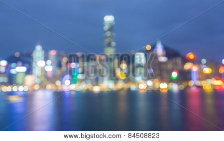Blurred Photo bokeh, Cityscape at twilight time