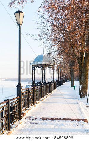 Pavilion On Winter Embankment Of The River Volga